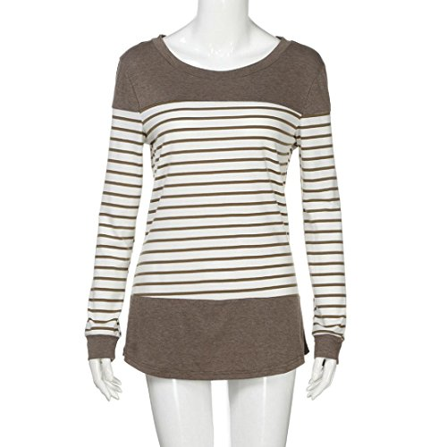 Moonuy Tee Shirt Femme Manches Longues Col Rond vrac Blouse Tunique Rayé Casual T-shirts Top Blouse Hauts Sexy Chic Mode Marron