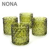 NONA ORIS wald grün - 4er Set Teelichtglas - Teelichtgläser Kerzenglas Kerzengläser Teelichthalter orientalisch vintage