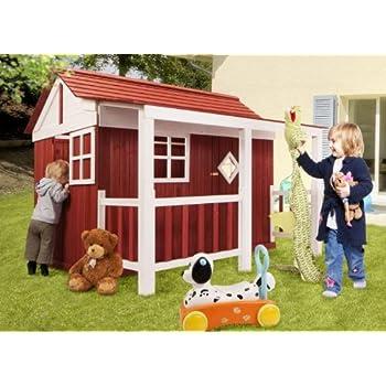 "Holz Kinder Spielhaus ""Ida"" Schwedenhaus Holzhaus Gartenhaus Haus Kinderhaus rot"