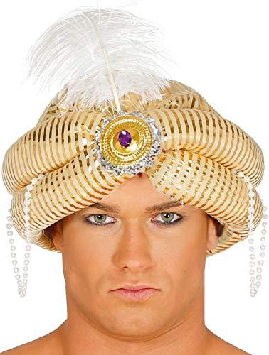 Fancy Me Herren Silber Arabisch weiße Federn Turban Genie Kostüm Kleid Outfit Hut Zubehör - Silbern, Gold, One size (Arabisches Kostüm Genie)