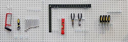 Seville Classics UHD20224 Werkzeug Lochwand mit 46 Haken, Metall pulverbeschichtet, 3-teilig, 182,9 x 60,9 cm, grau