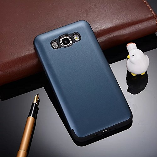 YHUISEN Galaxy J5 2016 Case, 2 In 1 PC + TPU Dual Layer Rüstung Hybrid Schutz Schock Absorption Hard Back Cover Fall für Samsung Galaxy J5 2016 J510 ( Color : Silver ) Navy Blue