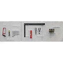 Seville Classics 3-tlg. Werkzeug Lochwand mit 46 Haken, 182.9 x 60.9 cm (LxB), Metall pulverbeschichtet; Grau
