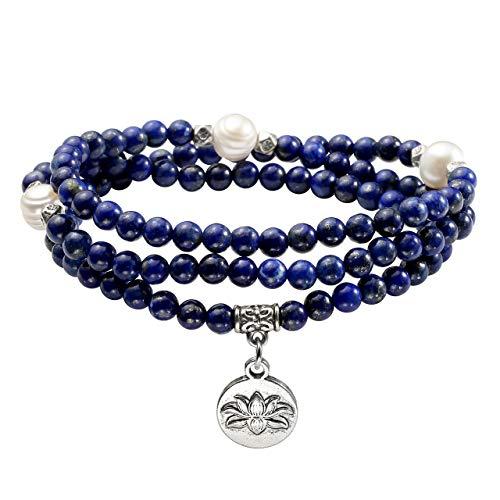 JOVIVI 4mm 108 Perlen Tibetisches Yoga Edelstein Armband mit Lotus Anhänger Wickelarmband Buddhismus Mala Kette Gebetskette (Lapis Lazuli)