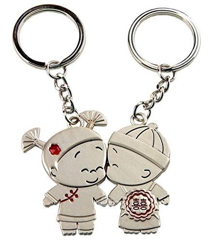 snowwer creative matrimonio bambola design coppia Coppia Portachiavi con ciondolo a forma di cuore