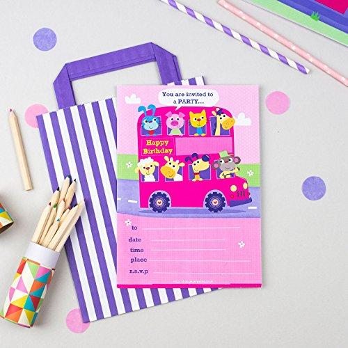 20invitaciones para fiesta de cumpleaños infantil con un autobús de ...