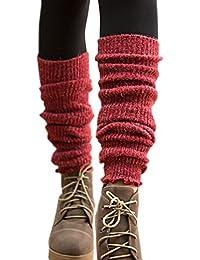 TININNA - Calcetines térmicos de punto para mujer, mezcla de lana cálida para invierno rojo Rojo