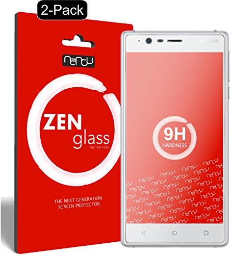nandu I ZenGlass [2 Stück] Flexible Glas-Folie für Nokia 3 Panzerfolie I Bildschirm-Schutzfolie 9H I (Kleiner Als Das Gewölbte Bildschirm)