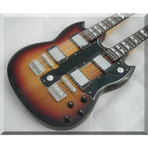 JIMMY PAGE Miniatura Guitarra LED ZEPPELIN DOUBLE NECK SUNBURST
