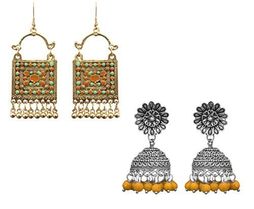 Sitashi Imitation/Fashion Jewellery Metal Jhumki and Afgani Dangler Earrings for Everyday Use for girls and women (Yellow)