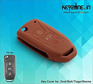 Keyzone Silicone Key Cover Fit For Tata Tiago / Safari Storme / Zest / Bolt flip Key (Brown) (1)