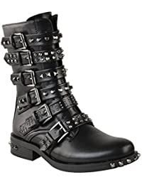 Fashion Thirsty Womens Ladies Stud Ankle Boots Buckle Western Biker Strappy Flat Shoes Size