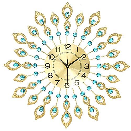 Vinteen orologi da parete d'arte orologio da parete in metallo silenzioso orologio da salotto pavone orologio da parete arte moderna orologio da parete stile moderno creativo orologio da muro in acciaio decorativo stile europeo horologe ( dimensione : diameter 50cm )