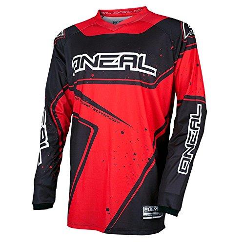 O'Neal Element Racewear Jersey Schwarz Rot MX MTB DH Trikot Motocross Offroad, 0028-30, Größe M