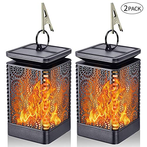 2 Pack Lampe à Flamme Solaire Eclairage Exterieur, Effect de Flamme Vacillante, IP65 et Résistante Chaleur, Decoration Pour Jardin/Chambre/Patio/Deck/Noël/Fête/Camping