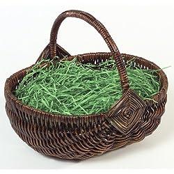 Heitmann Deco - Henkelkorb mit Ostergras - handgefertigt aus Farn - Deko für Frühling und Ostern - Haus und Garten