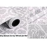 Despegar y pegar diseño de damasco papel pintado autoadhesivo PVC Papel de contacto cajón estante maletero para el hogar pared arte Decal (23,4x 169inch, gris)