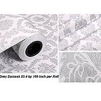 Papel pintado autoadhesivo, diseño de damasco, de PVC, ideal para forrar cajones o estantes o para decorar las paredes, 60cmx5m, color gris
