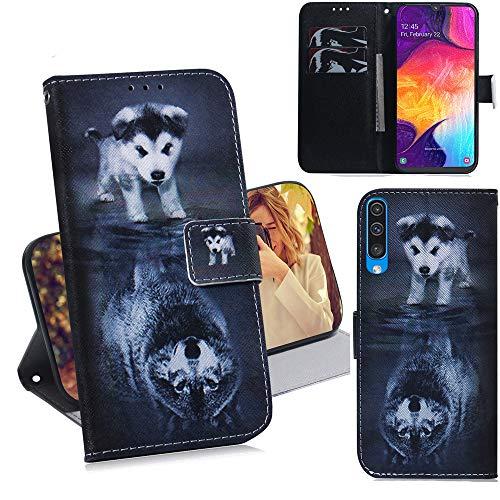 DodoBuy Samsung Galaxy A50 Hülle Flip PU Leder Schutzhülle Handy Tasche Case Cover Wallet Standfunktion mit Kartenfächer Magnetverschluss für Samsung Galaxy A50 - H& Wolf