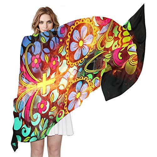 DOSHINE Abstrakter Halloween-Schal aus Seide, leicht, weich, lang, durchsichtig, für Damen und Mädchen
