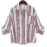 BHYDRY Women's Casual lose Shirt mit Tasche Vintage Langarm Gestreiften Bluse(EU-40/CN-S,Rosa)