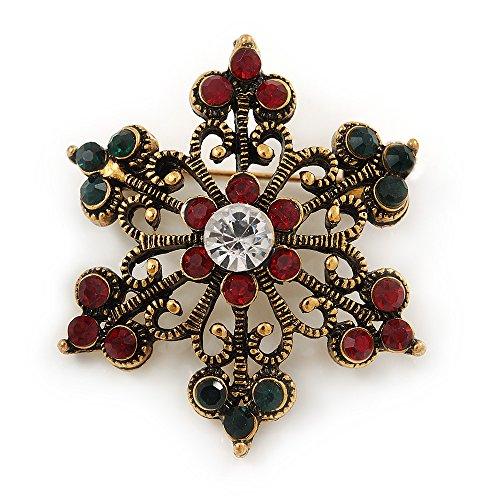 Kleine Vintage inspiriert rot/grün/Kristall Klar Weihnachten Schneeflocke Brosche in Bronze Tone Metall–35mm D