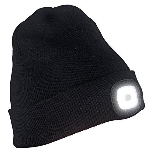 Licht Grau Wolle (Tagvo USB Nachladbare LED Mütze-Kappe, Beleuchtung und blinkende Warnungs-Arten 8 LED, einfache Installation Schnellverwendbare Scheinwerfer-Mütze, Unisex-Winterwärmer-Strickkappe - Schwarz/ Grau)