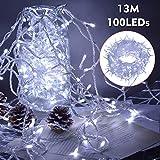 ipow 13M 100 LED Catene luminose Stringa luci Luci per albero di natale interno 8 Effetti di luce Impermeabilità IP44 Decorazione natalizia Interni ed Esterni, Matrimonio, Finestra, Luce Fredda