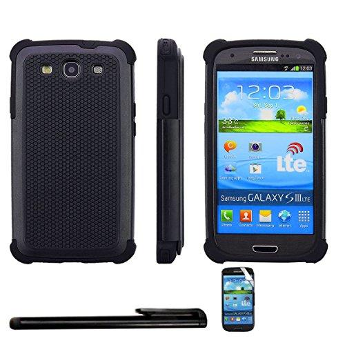 4in1 Hybrid Custodia per - Samsung Galaxy S3 / S3 Neo - antiurto telefono cellulare resistente caso della copertura / Protector doppio strato morbido silicone Tpu in NERO + 1xStilo + 1x Pellicola Protezione