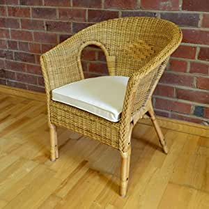 Alfresia hand woven rattan bedroom conservatory chair with - Amazon bedroom chairs and stools ...