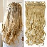 TESS Haarteil Clip in Extensions wie Echthaar Blond ombre Haarverlängerung 1 Tresse 5 Clips günstig Gewellt Haarverdichtung 24