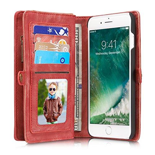 """iPhone 6/6s 4,7""""Case Hülle Geldbörse mit Kartenfächer,Grau, Geldscheinfach mit Reißverschluss Premium abnehmbar Magnet Handy Schutzhülle Rot"""