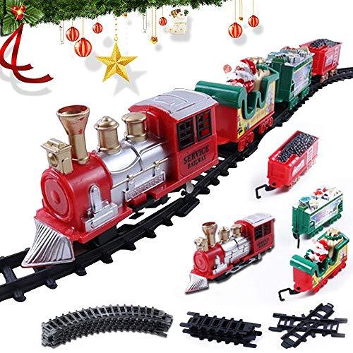 Ceepko Train Électrique Classique pour Noël,Circuit Train Electrique pour Enfants,Jouets Assemblés Bricolage,Décorer Le Sapin de Noël,Jouets Assemblés pour Enfant,Musique,Lumière Cadeaux pour Enfants