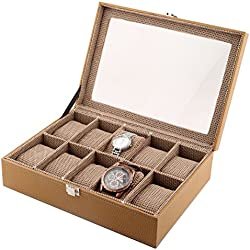 10-Slot Designer Window Watch Case PU Leather Glass Display Top Organizer Box