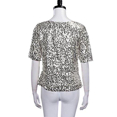 Yogogo T-Shirt, Sequins Sparkle Kurzarm Cocktail Party Top T-Shirt Bluse für Damen Silber