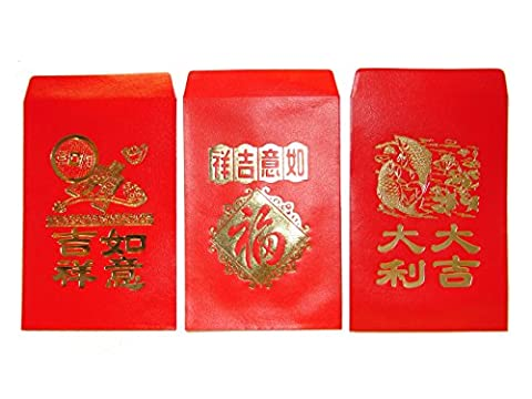 Chinese Red Envelopes, pack of 50 in 3 designs by Feng Shui Import