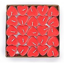 50 velas en forma de corazón color rojo