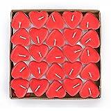 Binnan 50Pcs Velas de Amor Romántica Sin Humo en Forma de Corazón para Fiestas Navidades Cumpleaños, Rojo