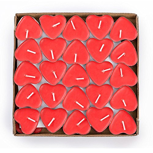 Kentop 50 Tealight Candles Smokeless Tea Light Romantic Heart Tea Light Set for Sledge, Wedding, Birthday, Party, Candles, red, 3.7*3.7*1.0cm