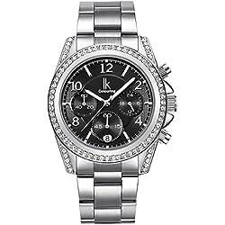 Alienwork Quarz Armbanduhr Multi-funktion Quarzuhr Uhr modisch Strass schwarz silber Metall K001GA-01