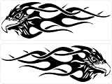 2 Sticker MacBook Laptop Auto Motorrad Adler Tribal Flamme Schwarz