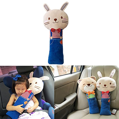 Seat Belt Pillow, Car Seat Belt Covers for Kids, Plush Toy Pet Seat Belt Strap Cover, Adjust Vehicle Shoulder Pads, Safety Belt Protector Cushion by Sunsang (bunny)