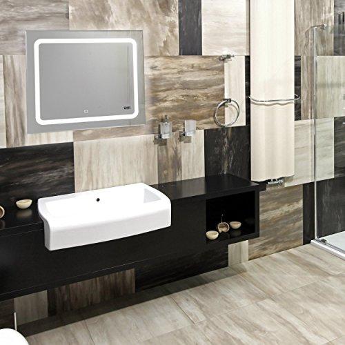 LED beleuchteter Badspiegel mit Touch Sensor, Digitaluhr, 80x60cm
