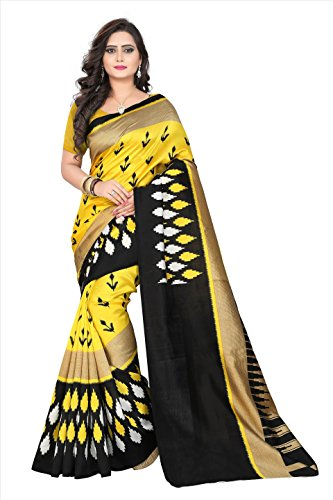 Fabwomen Silk Saree with Blouse Piece (Fab1124_Multicolor_Free Size)