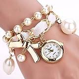 Dilwe Frauen Faux Perlen Schmuck Armbanduhr 3 Farben Legierungs Hängende Bügel Runde Vorwahlknopf Quarz Bewegungs Armband Uhr (Weiß)