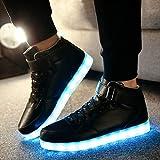 Lorenlli Hombres de Moda Negro Iluminación LED High Top Light Up Shoes Zapatillas Intermitentes Carga USB Zapatos con Cordones Casuales