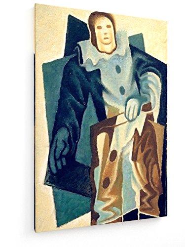 Juan Gris, Pierrot - 60x90 cm - Textil-Leinwandbild auf Keilrahmen - Wand-Bild - Kunst, Gemälde, Foto, Bild auf Leinwand - Alte Meister/Museum (1920er Jahre Theater Kostüm)