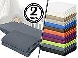 Jersey-Spannbetttuch in Top-Qualität - mit einer Steghöhe von ca. 35 cm - 100% Baumwolle - erhältlich in 6 verschiedenen Größen und 12 ausgesuchten Farben, 1 Pack (2 Stück) - Jersey-Spannbetttücher ca. 70 x 140 cm, anthrazit