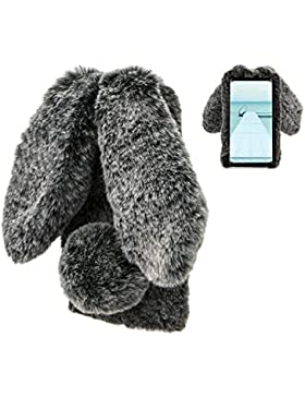 Plüsch Hülle Samsung Galaxy S7 Edge Flauschige Hasen Fell Hülle Handyhülle Für Mädchen Süße Winter Warm Weich...