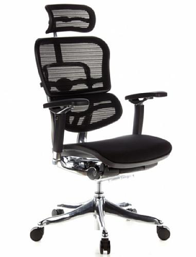 HJH OFFICE 652650 Bürostuhl / Chefsessel ERGOHUMAN PLUS Sitz Stoff / Rücken Netz schwarz